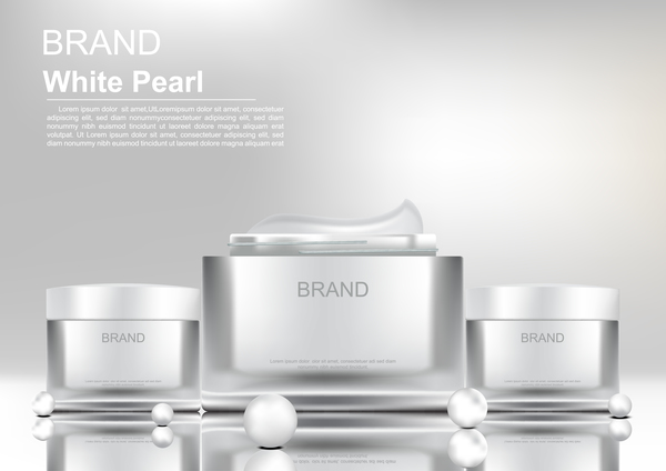Cosmetic products with white pearls on white background vector