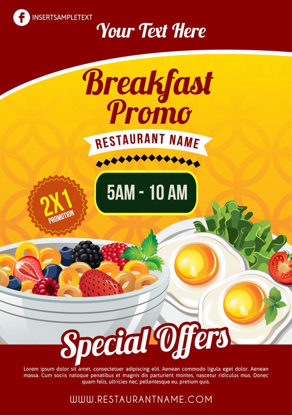 Creative breakfast poster template vector