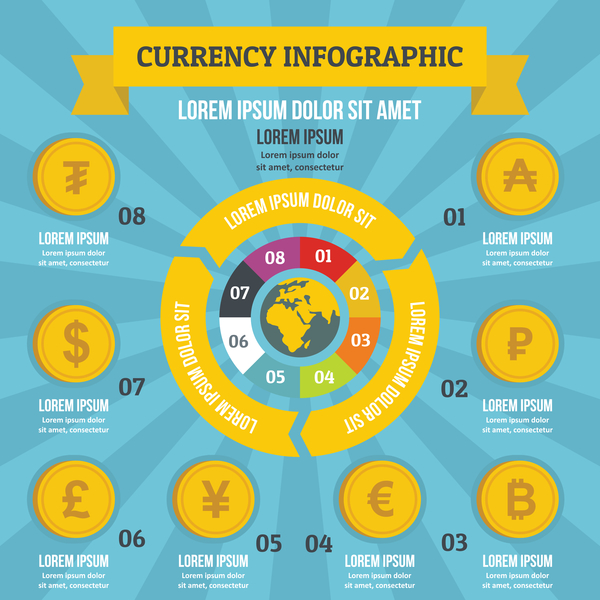 Currency infographic design vector