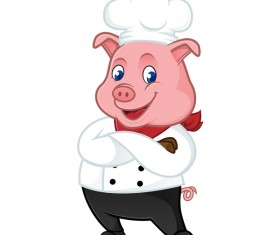 Cute cartoon chef pig vector illustration 01