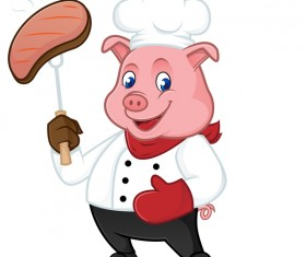 Cute cartoon chef pig vector illustration 02