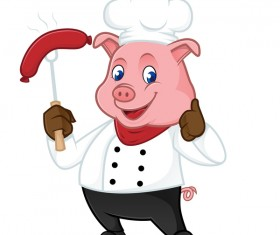 Cute cartoon chef pig vector illustration 03