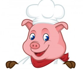 Cute cartoon chef pig vector illustration 04