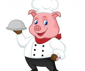 Cute cartoon chef pig vector illustration 05