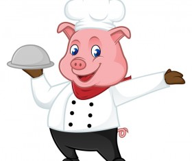 Cute cartoon chef pig vector illustration 06