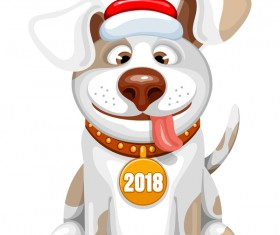 Cute dog with 2018 new year vector