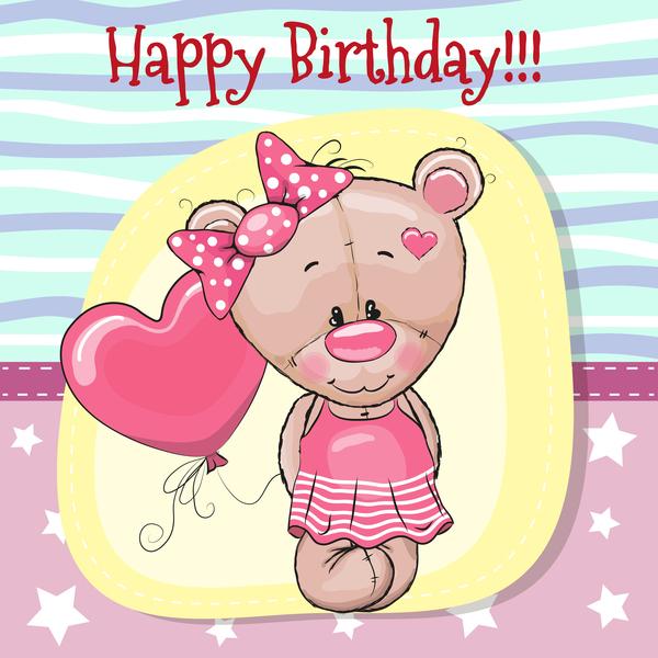 Cute Happy Birthday Baby Card Vectors 01 Free Download