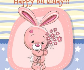 Cute happy birthday baby card vectors 02
