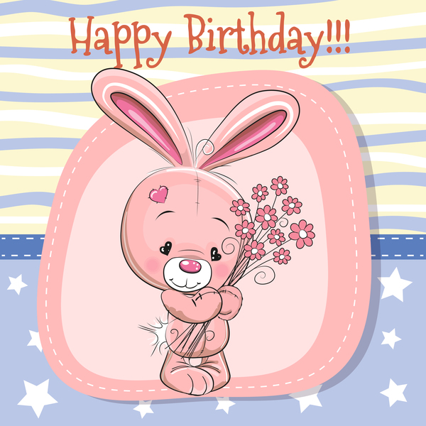 Cute Happy Birthday Baby Card Vectors 02 Free Download