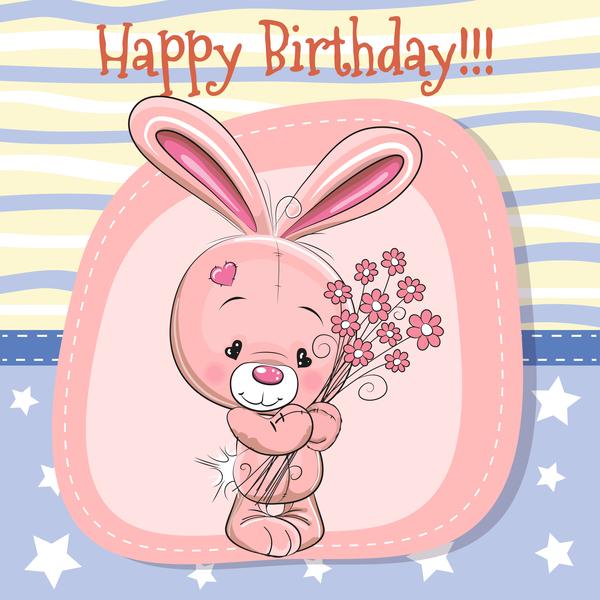 Cute happy birthday baby card vectors 02