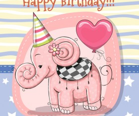 Cute happy birthday baby card vectors 03