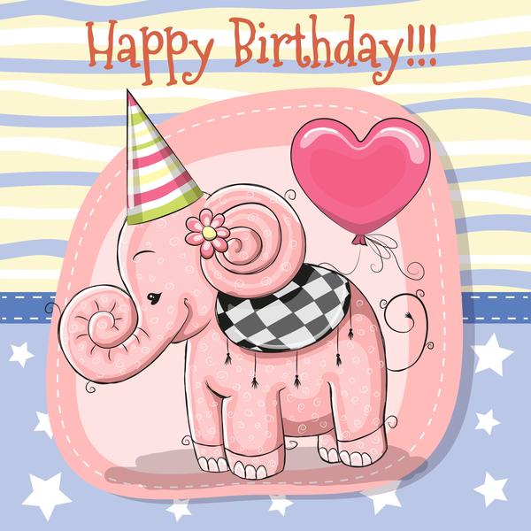 Cute happy birthday baby card vectors 03