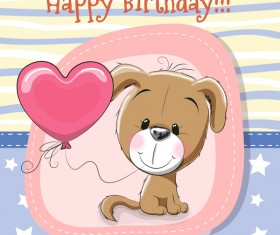 Cute happy birthday baby card vectors 04