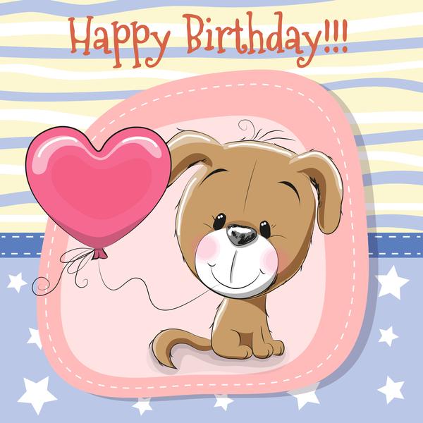 Cute happy birthday baby card vectors 04