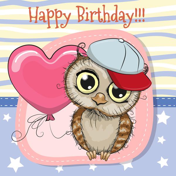 Cute happy birthday baby card vectors 05
