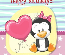 Cute happy birthday baby card vectors 06
