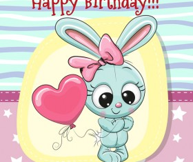 Cute happy birthday baby card vectors 07