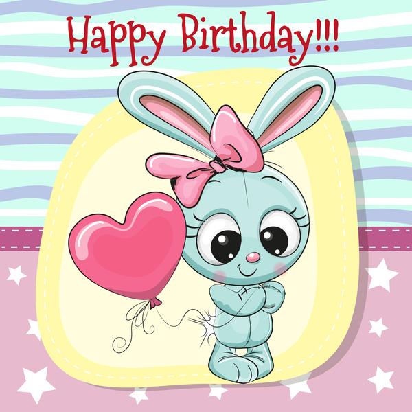 Cute happy birthday baby card vectors 07