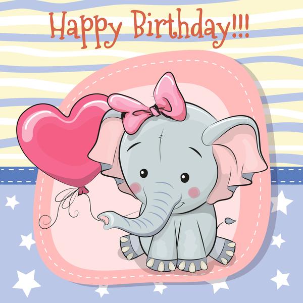 Cute happy birthday baby card vectors 08
