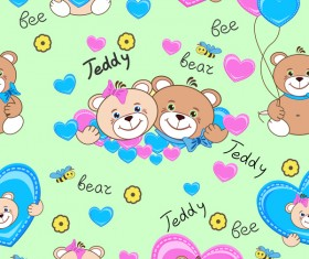 Cute teddy bears seamless pattern vector material 03