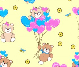 Cute teddy bears seamless pattern vector material 04