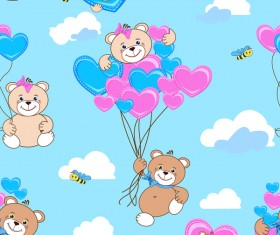 Cute teddy bears seamless pattern vector material 05