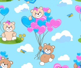 Cute teddy bears seamless pattern vector material 06