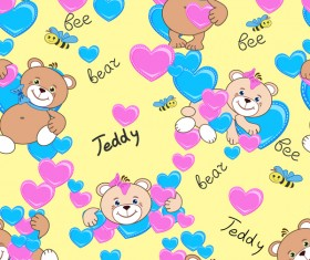 Cute teddy bears seamless pattern vector material 07