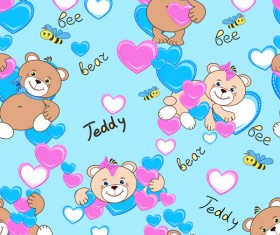 Cute teddy bears seamless pattern vector material 08
