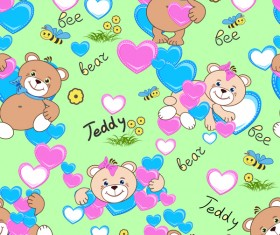 Cute teddy bears seamless pattern vector material 09