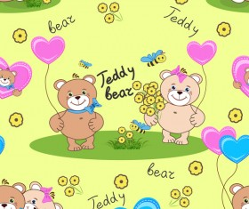Cute teddy bears seamless pattern vector material 10