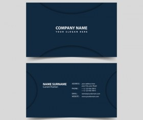 Dark blue business card remplate vector