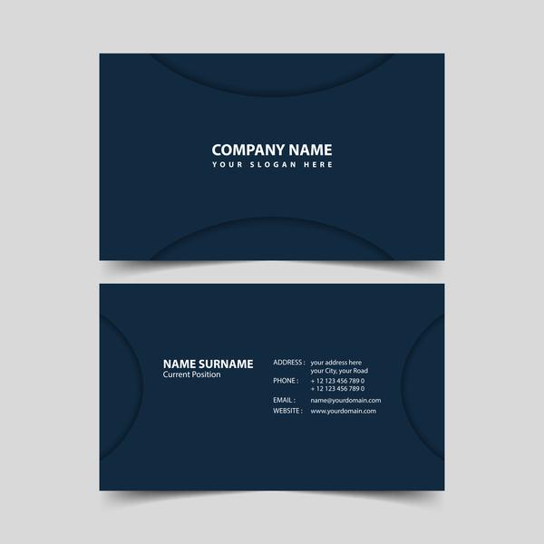 Dark blue business card remplate vector