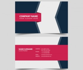 Dark blue with red business card remplate vector
