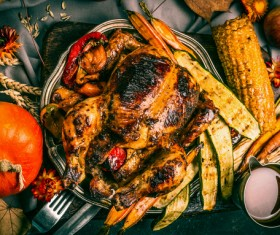 Delicious grilled chicken with grilled corn vegetables Stock Photo