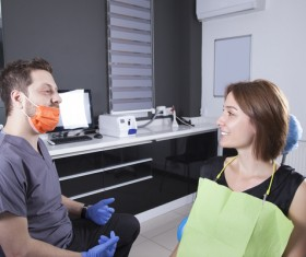 Dentists communicate with patients Stock Photo 01