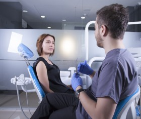 Dentists communicate with patients Stock Photo 02