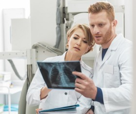 Doctors and nurses see X-rays Stock Photo