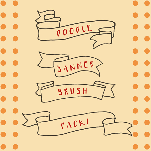 Doodle Banner Photoshop Brushes Free Download