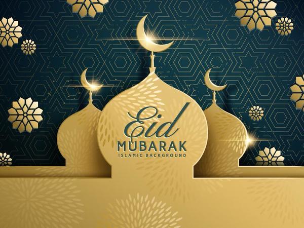 eid mubarak dark background with golden building vector 01