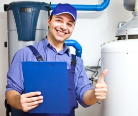 Electrical maintenance personnel Stock Photo