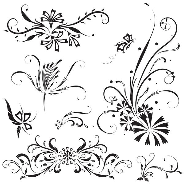 Elegant floral ornaments vector