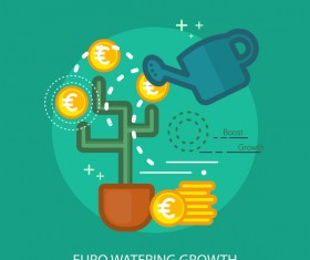 Euro Watering Growth Conceptual Design vector