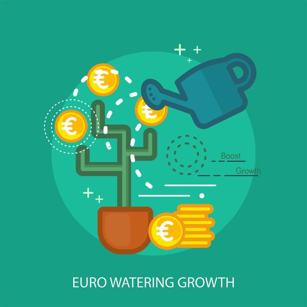 Euro Watering Growth Conceptual Design vector