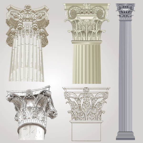 European style architecture columns vector material 01