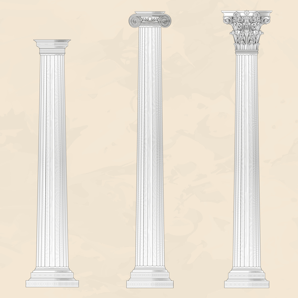 European style architecture columns vector material 03