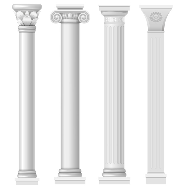 European style architecture columns vector material 04
