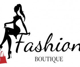 Fashion boutique background with beautiful girl vector 01