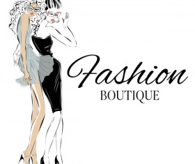 Fashion boutique background with beautiful girl vector 02