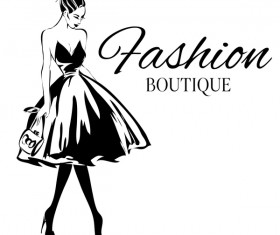 Fashion boutique background with beautiful girl vector 03